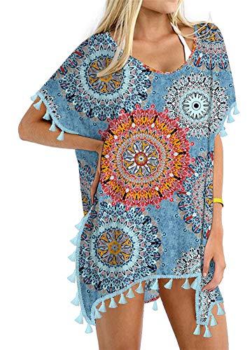 Yincro Women's Chiffon Swimsuit Beach Bathing Suit Cover Ups for Swimwear (Mix Flower, 1X-2X)