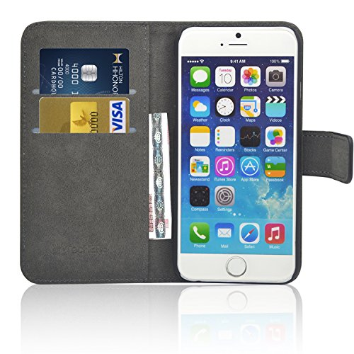 TecHERE ProWallet - echt lederen beschermhoes met portemonnee-functie voor smartphone - hoogwaardige en stijlvolle hoes met vakjes voor bankpassen en geldvak