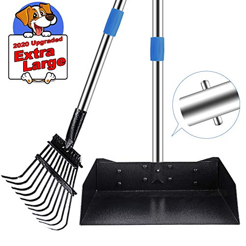 QiMH Upgraded Dog Pooper Scooper Extra Large, Adjustable Long Handle Stainless Metal Pet Poop Tray and Rake Set for Large Medium Small Dogs, Dog Waste Removal Bin Rake, Great for Grass, Street, Gravel