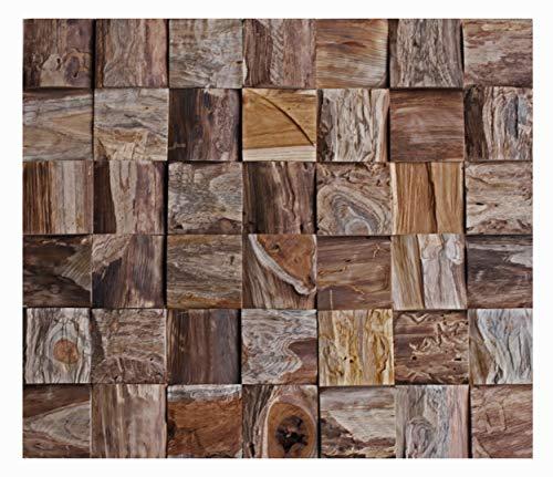 HO-013-1 Teakholz Modul Wandverkleidung Holz Wandverblender Wanddekoration Wand-Design - Fliesen Lager Verkauf Stein-Mosaik Herne NRW