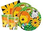 Set da 48 pezzi per festa della giungla Jungle Safari Animali Leone Zebra Tiger AFFE Tucan per 16 persone (piatti, bicchieri, tovaglioli)