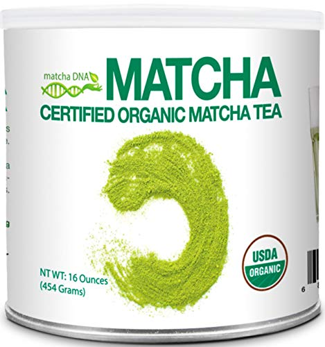 MatchaDNA Certified Organic Matcha Green Tea Powder (16 oz TIN CAN)