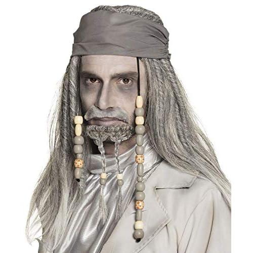 Parrucca pirata fantasma Deluxe con bandana, barba e baffi