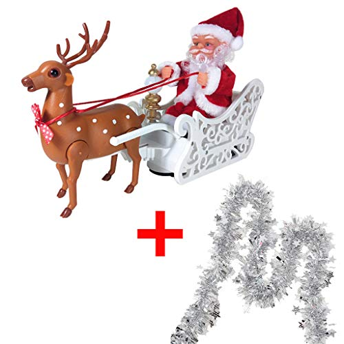 Factorys Electric Elk Pulling Santa Claus Electric Car Toy, Santa Claus Music Figurine Ornament, Electric Toy Christmas, Family Party New Year Gifts for Kids