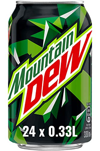 Mountain Dew Regular, Koffeinhaltige Limonade mit Lemon-Lime-Geschmack, das Kultgetränk aus den USA, EINWEG Dose (24 x 330 ml)