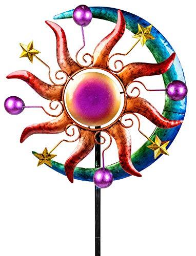 dekojohnson Antikes Windrad für den Garten aus Metall Sonne Windräder Windspiel Windmühle Stern Mond Orientalisch Lila/Rot/Blau - 124cm Groß