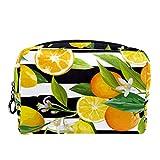 Bolsa de cosméticos Bolsa de Maquillaje para Mujer para Viajar para Llevar cosméticos, Cambio, Llaves, etc.Raya de Fruta de limón Tropical