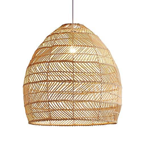 Uniquk Lampe en Rotin Pendentif Lumière Vintage Abat-Jour Suspendu E27 Salon Salle à Manger Décor à la Maison...