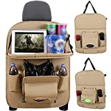 Multifunctional Car Backseat Organizer with Foldable Table Tray and Tissue Box,PU Leather Car Back Seat Organizer with Protector Kick Mats for Kids Road Trip (1 Pack)