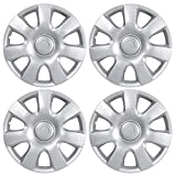 BDK Performance Wheel Covers (4 Pack) of Premium 15' inch Hubcap OEM Replacements for Steel Wheels, High Grade ABS with Retention Ring, Silver