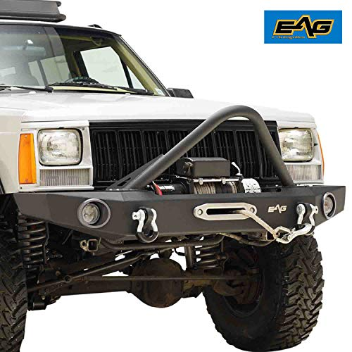 EAG Stinger Front Bumper with Winch Plate Fit for 84-01 Cherokee XJ Comanche MJ