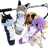 AWOOF Dog Flirt Pole Squaeky Toys Set, Soft Teaser Plush Toys for Dog Puppy Safe & Strong, Interactive Dog Tug Toys for Training