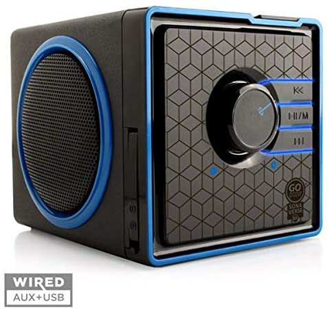 GOgroove SonaVERSE BX Portable Speaker with USB Music Player - Cube Speaker with USB Flash Drive MP3 Input, 3.5mm AUX Port, Playback Controls, Rechargeable 5 Hour Battery (Wired, Blue)
