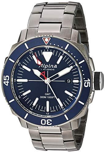 Alpina Men's Seastrong Diver Swiss Quartz Diving Watch with Stainless Steel/Titanium Strap, Black, 22 (Model: AL-247LNN4TV6B)