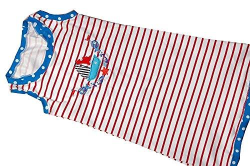 Mädchenkleid Gr. 122/128, Strandkleid Maritim rot blau weiß C-Fashion-Design