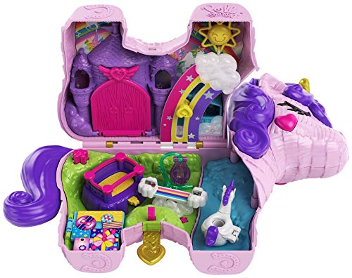 Polly Pocket Unicorn Party Large Compact Playset with Micro Polly & Lila Dolls, 25+ Surprises to Discover & Fun Princess Party Play Areas: Bouncy House, Castle, Swings, Water Floatie & More