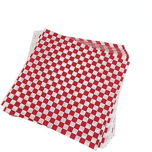 200 Stück Checkered Deli Basket Liner Lebensmittelverpackung Papier, fettdichte Pommestüte Pommes Tüten Kartoffelstäbchen für Fish and Chips geeignet French Fries