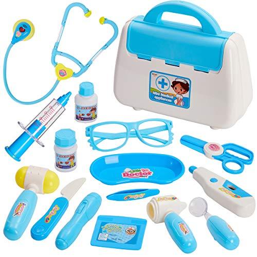 Buyger Doctora Maletin Medicos Juguete Enfermera Infantil Kit Luces y Sonidos Imitación Juegos de rol para Niña Niños 3+ Años (Azul)