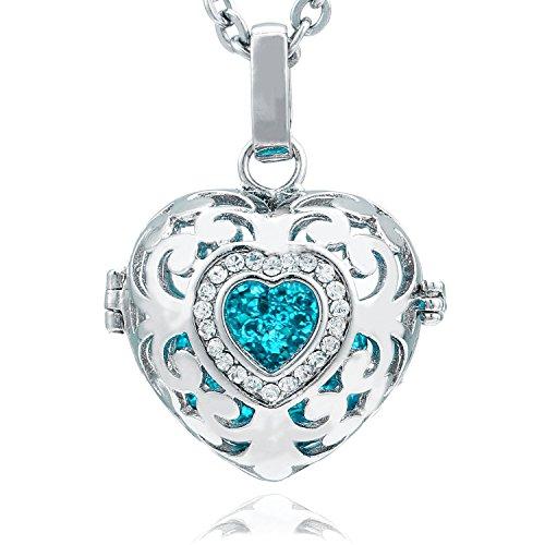 Morella Damen Schutzengel Halskette Edelstahl 70 cm mit Anhänger Herz Liebe und Klangkugel Zirkonia türkis Ø 16 mm in Schmuckbeutel