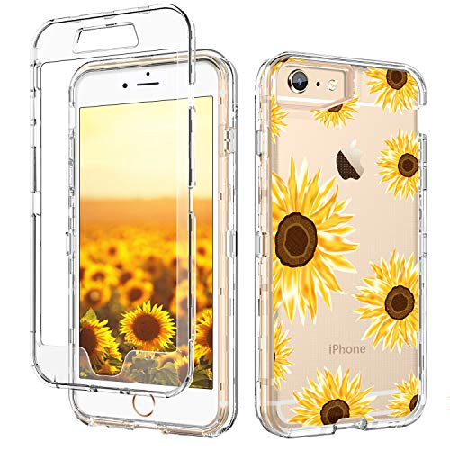 iPhone SE 2020 Case iPhone 6S Case iPhone 6 Case GUAGUA Clear Transparent Cover Sunflower Floral 3-in-1 Hybrid Hard Plastic Soft Rubber Shockproof Protective Case for iPhone 6/6S/SE 2020 Yellow