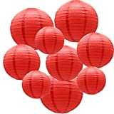 ADLKGG Round Hanging Paper Lanterns Decorations for Party Wedding Birthday Baby Showers Christmas Supplies, Red 12'',10'', 8'', 9 Pack