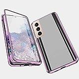 Funda Compatible Samsung Galaxy S21 Plus/S21+, Carcasa Anti-Choques y Anti- Arañazos, Adsorción Magnética conchoques de Metal con 360 Grados Protección Transparente Vidrio Templado Cubierta,púrpura