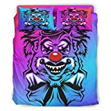 Clown Horror Red Nose Halloween Purple All Season Microfiber Comforter Sets Machine Washable Bedding Duvet Cover 4 Piece Sets with Pillow Cases