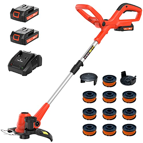 PAXCESS Cordless String Trimmer/Edger, 20V 10-Inch Weed Eater with 2Pcs 1.50Ah Batteries, 1Pcs Charger and 10Pcs Replacement Spool Line, Length Adjustable Weed Wacker