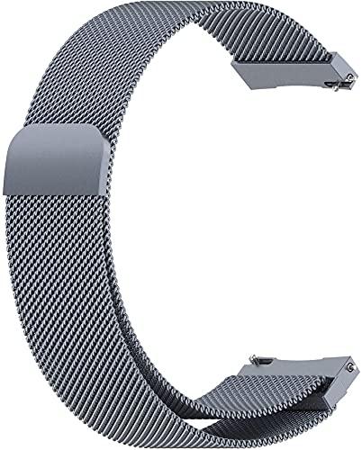 Xummy Correa de metal, malla de acero inoxidable con cierre magnético, 20 mm, color gris espacial
