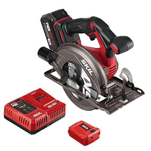 SKIL PWR CORE 20 Brushless 20V 6-1/2'' Circular Saw Kit, Includes 4.0 Ah Battery, PWR ASSIST UBS Adapter AND PWR JUMP Chargers - CR5413-1A