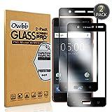 Owbb [2 Stück] Schwarz Gehärtetes Glas Bildschirm schutzfolie Für Nokia 5 Full Coverage Schutz 99prozent High Transparent Explosionsgeschützter Film