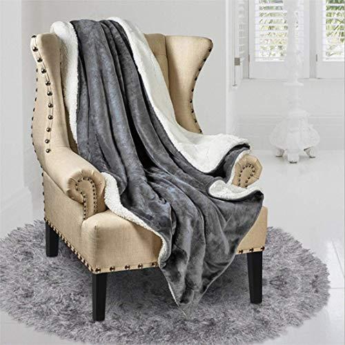 N / A Manta de Lana de Cordero súper Suave de Doble Cara, cálida y cómoda Manta de Lana, decoración sofá y Cama (Gris, 160x200cm)