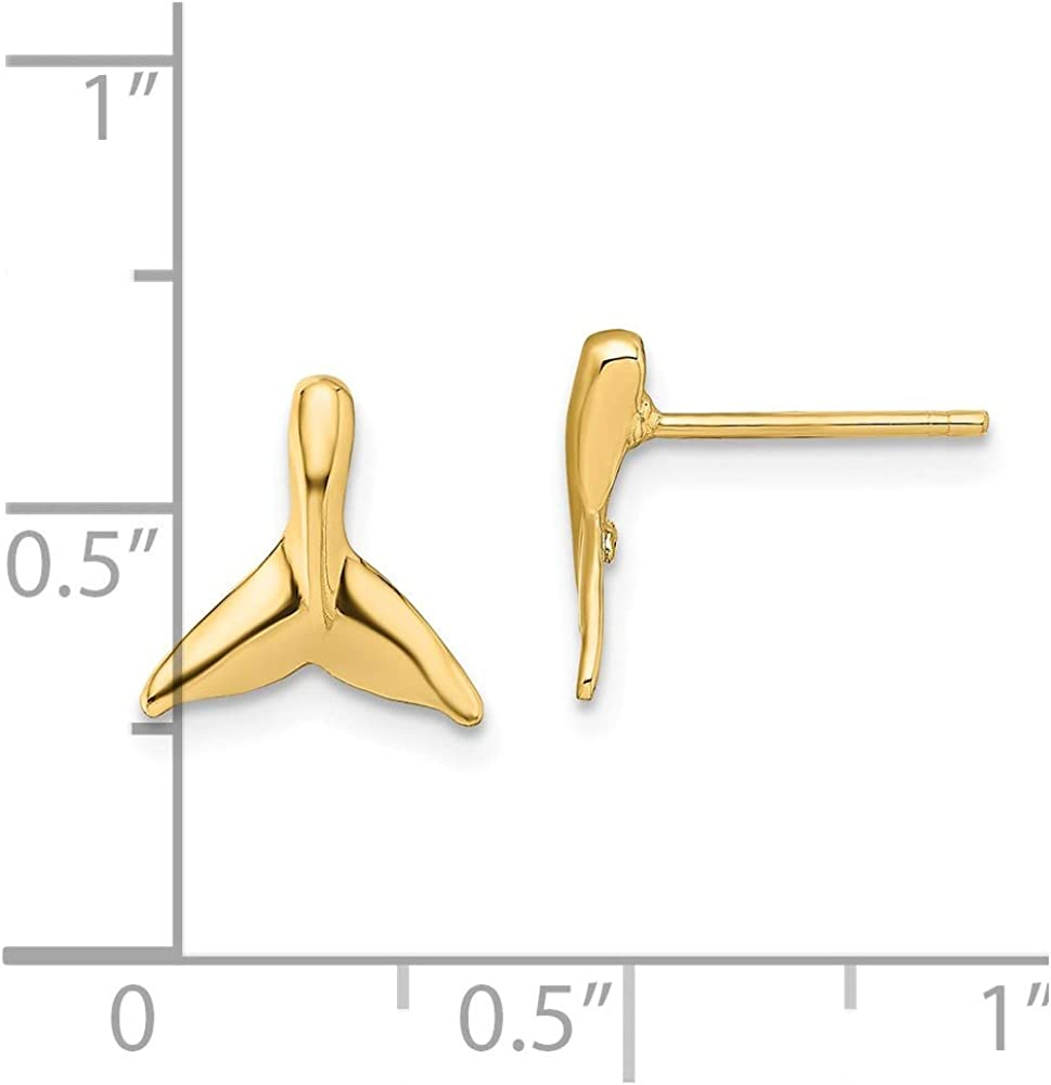 Solid 14k Yellow Gold Mini Whale Tail Post Studs Earrings - 9mm x 9mm