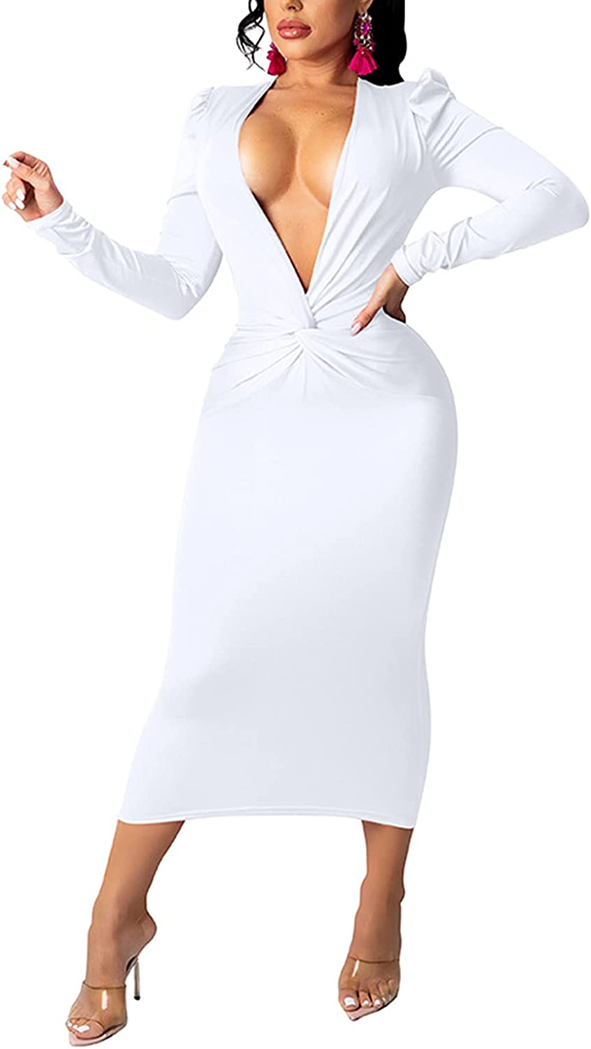 Women Sexy Long Sleeve Deep V Neck Twist Front Bodycon Pencil Midi Cocktail Party Club Dress