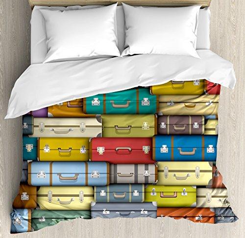 Juego de funda nórdica modernos por Ambesonne, Colorful maletas fondo Vintage Viaje Viaje Vacaciones Temática con diseño, decorativo juego de cama con fundas de almohada, multicolor