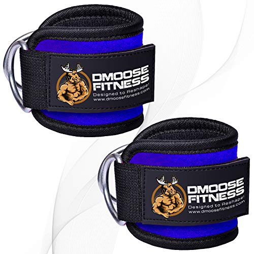 DMoose Fitness Ankle Strap for Cable Machines for Kickbacks, Glute Workouts, Leg Extensions, Curls, and Hip Abductors for Men and Women, Adjustable Neoprene Support (Blue, Single)