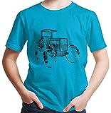 Hariz - Maglietta da ragazzo con trattori, prato, escavatore, veicoli e auto, regalo di compleanno incluso Blu azzurro 116 cm