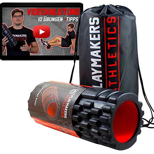 Playmakers Faszienrolle mit Videoanleitung für Faszientraining von Beine und Rücken, Foam Roller Massageroller für Selbst-Massage und effektives Faszien Training von Muskeln und Bindegewebe