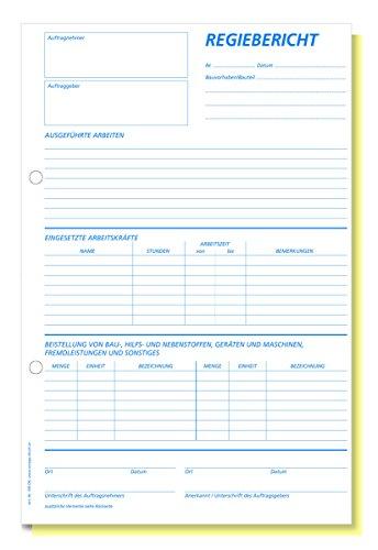 Omega Druck Regiebericht 708 OK, selbstdurchschreibend, A4 hoch, 2 x 50 Blatt, weiß/gelb