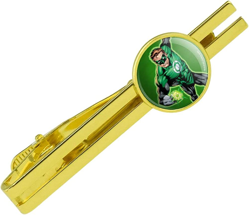 GRAPHICS & MORE Green Lantern Character Round Tie Bar Clip Clasp Tack Gold Color Plated
