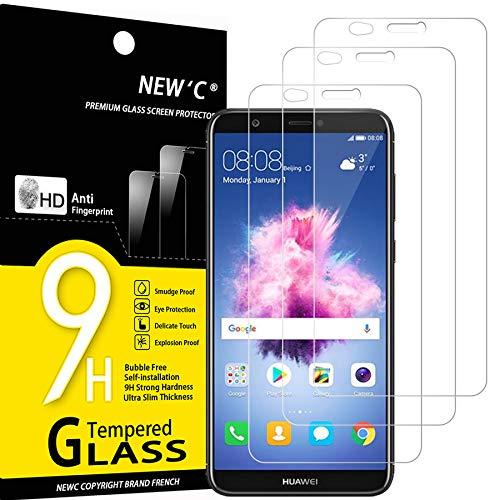 NEW'C Lot de 3, Verre Trempé Compatible avec Huawei P Smart, Film Protection écran sans Bulles d'air Ultra Résistant (0,33mm HD Ultra Transparent) Dureté 9H Glass
