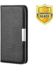 Boloker Funda para iPhone 11 Pro (5,8 Pulgadas) [Protector de Pantalla de Vidrio Templado],[Diseño Textura Litchi] Suave PU Leather Cuero Función de Soporte con Ranura Protección Case (Negro)