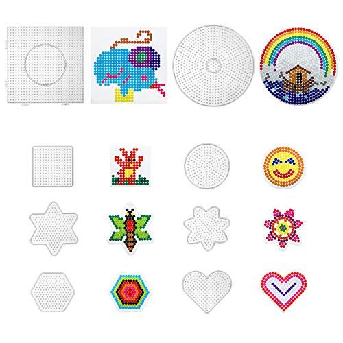 LIHAO 8 x Bügelperlen Platten Stiftplatten Verschiedene Formen Transparent Steckplatten mit 8 Stück bunten Papiervorlagen Rund Stern Viereck Sechseck Herz Blume (5 mm)