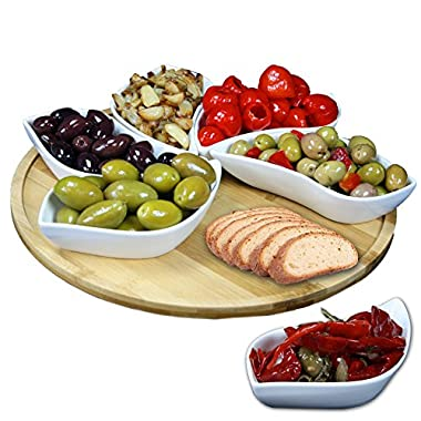 Elama Signature Modern Lazy Susan Appetizer and Condiment Server Set with 6 Unique Design Serving Dishes and a Bamboo Lazy Suzan Serving Tray, 13.5 , 7 Piece
