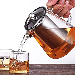 moxxnet Glass Tea Kettle Heat Resistant Tea Pot with Stainless Steel Infuser Strainer for Coffee Juice Loose Leaf Tea 750ml
