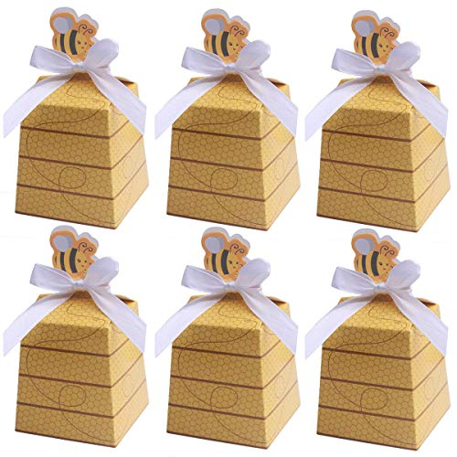 MeiMeiDa 30 Pack Bumble Bee Candy Boxes Treat Boxes Paper Beehive Gift Box with Ribbon for Bee Party Decoration Bee Birthday Baby Shower Favors Supplies