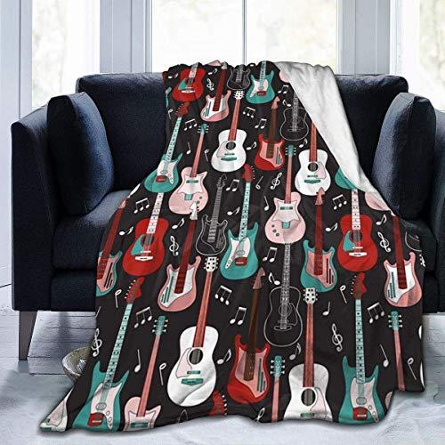 BOBO-Shop Sherpa Decke Wohndecken Kuscheldecken Rock'n'Roll-Gitarren Ultraweiche Fleecedecke Flanell Samt Plüsch Decke 50 x 40 Zoll