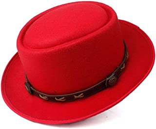 SAIPULIN-AU Men's and Women's Flat Top Cap Fedora Ms. Fascinator Casual Wild Style British Style Top Hat Fedora Hat (Color : Red, Size : 58)