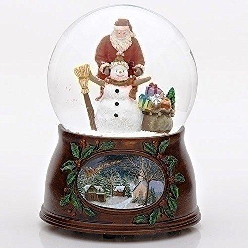 Roman Christmas Musical Revolving Santa Claus and Snowman Snow Globe Glitterdome Plays