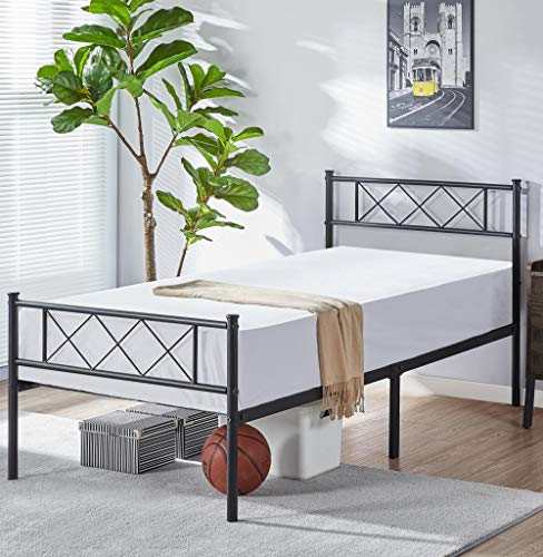 YAHEETECH 11 inch Black Industrial Twin Children Platform Metal Bed Frame with Headboard and Footboard/Mattress Foundation/No Box Spring Needed/Under Bed Storage/Strong Slat Support